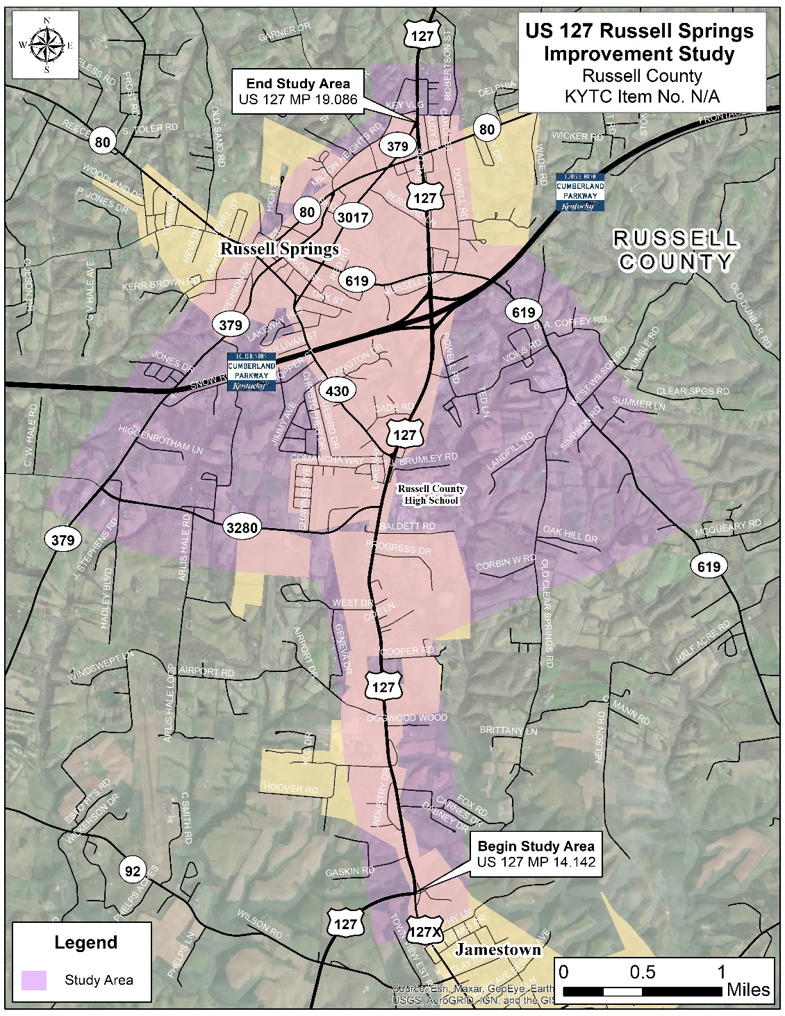 Map Of Us 127 US 127 Russell Springs Improvement Study   KYTC